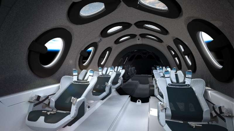The view inside the Virgin Galactic spaceship, which can accommodate up to six passengers who float in space for a few minutes i
