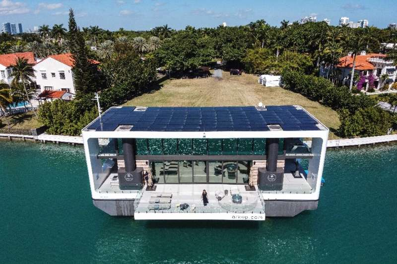 The Arkup luxury floating villa docked at Star Island in Miami Beach, Florida, on February 5, 2021. It costs $5.5 million and fi
