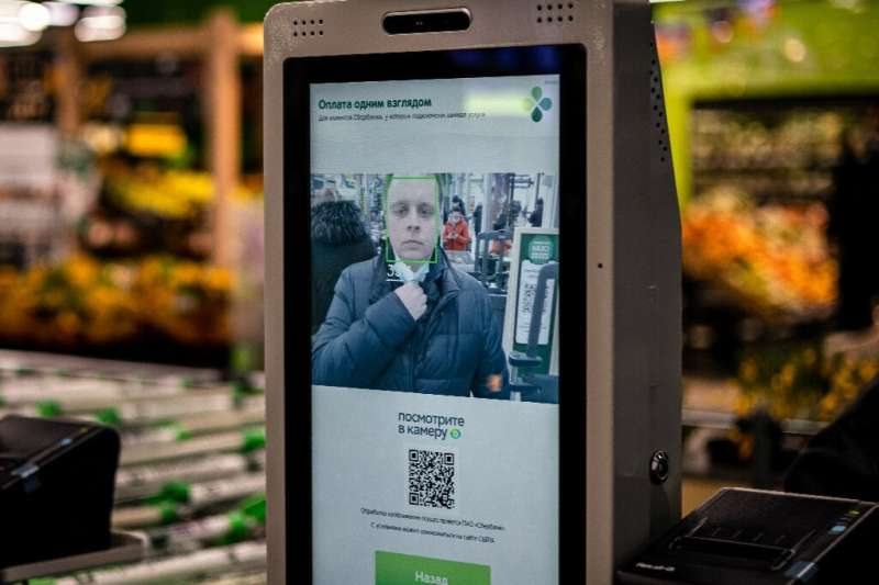 The face of the future—a facial recognition payment system at a  self-checkout machine in a Perekrestok supermarket in Moscow