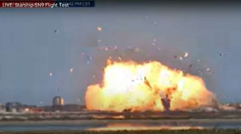 The Starship SN9 is seen exploding on landing as SpaceX conducts a test flight