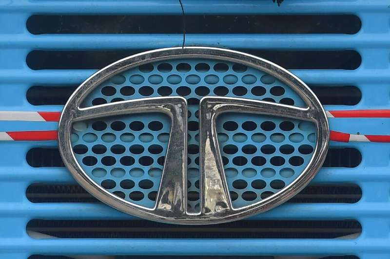 The Tata Motors logo is seen on the engine grille of a truck in Mumbai