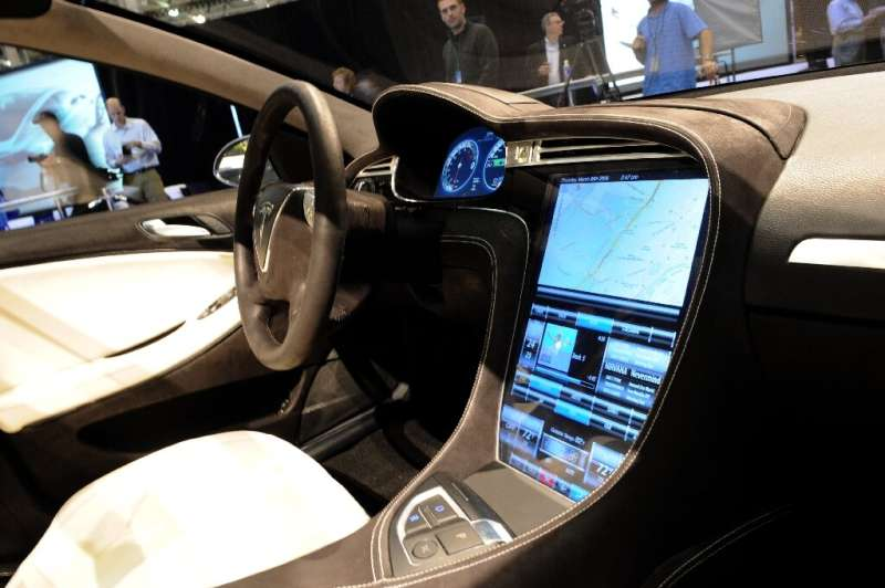 The touchscreen control panel of the Tesla Model S electric sedan is seen at the car's unveiling in Hawthorne, California in Mar