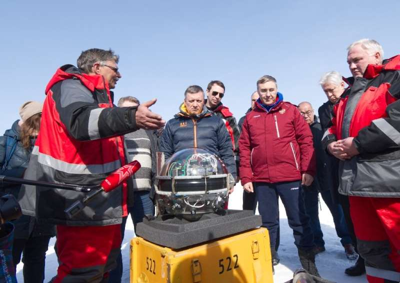 The underwater neutrino telescope was lowered to a depth of 750-1,300 meters in Lake Baikal