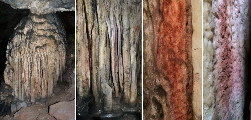 This combination of pictures obtained on July 29, 2021, shows a general view and close-up of a partly coloured stalagmite tower