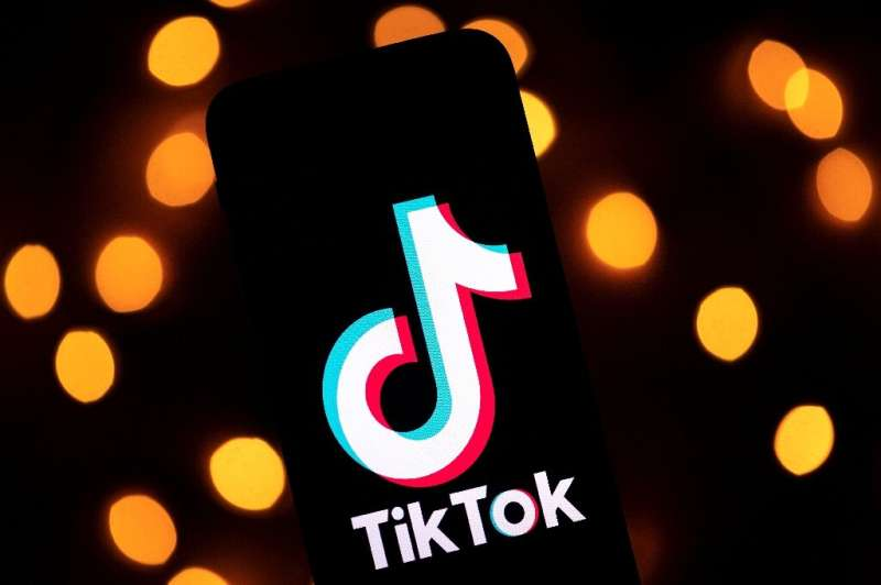 This file photo taken on November 21, 2019 shows the logo of the social media video sharing app TikTok displayed on a tablet scr
