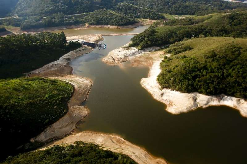 This file photo taken on December 17, 2014 shows an aerial view of the Atibainha river dam, in Nazare Paulista, during a drought