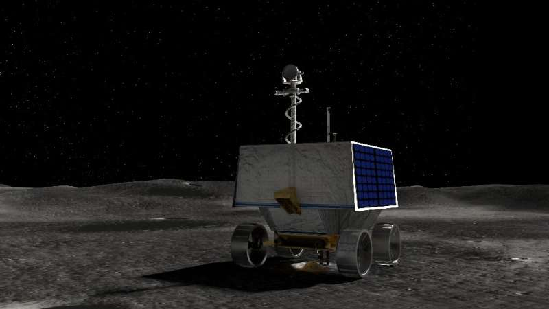 This handout illustration courtesy of NASA shows NASA's Volatiles Investigating Polar Exploration Rover (VIPER) on the surface o