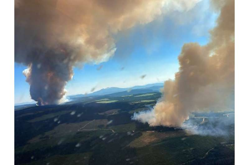 This handout photo courtesy of BC Wildfire Service shows two plumes of smoke from the Long Loch wildfire and the Derrickson Lake