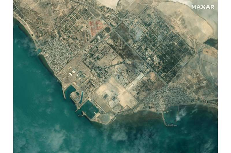 This handout satellite image provided by Maxar Technologies on January 8, 2020 shows an overview of Iran's Bushehr Nuclear Power