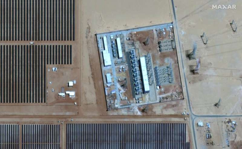 This handout satellite imagery released by Maxar Technologies on May 20, 2021 shows a view of the power substation at the Benban