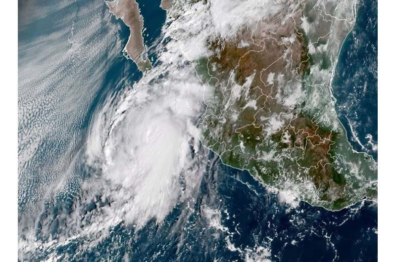 This National Oceanic and Atmospheric Administration (NOAA) satellite handout image shows Hurricane Pamela at 15:10:20 UTC, on O