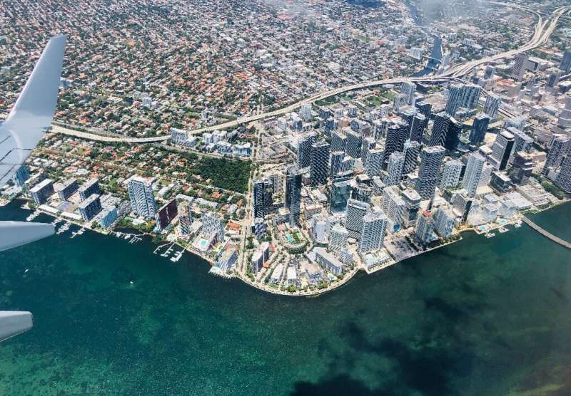 This file photo from May 22, 2019, shows an aerial view of Miami; the Florida metropolis, already a financial hub, is striving t