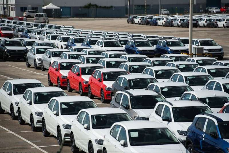Thousands of unfinished cars are seen parked at a Volkswagen factory in Pamplona, Spain, in May due to the lack of semiconductor