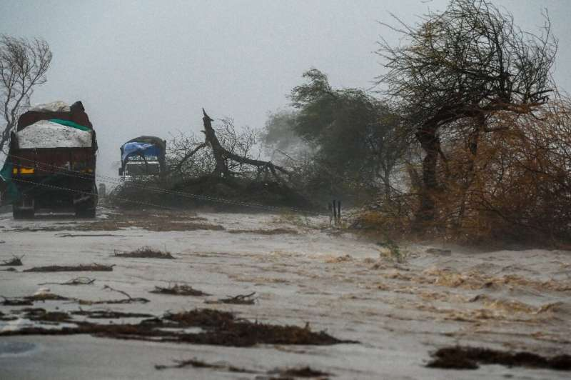 Trucks got stranded near the coastal town of Diu