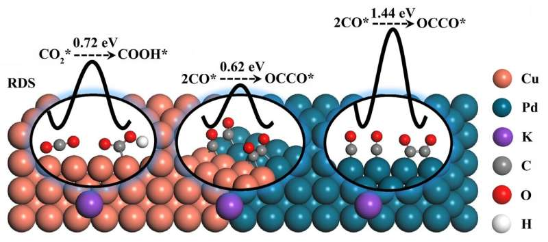 Tuning the intermediate reaction barriers by a CuPd catalyst for CO2 electroreduction to C2 products