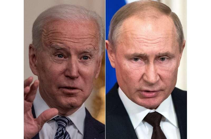 US President Joe Biden (L) is to meet his Russian counterpart Vladimir Putin next month amid increasing tensions between the two