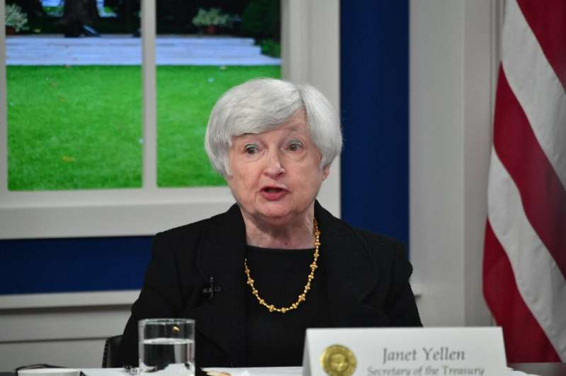 """US Treasury Secretary Janet Yellen, pictured on October 6, 2021, at the White House, said she was """"confident"""" Congress"""