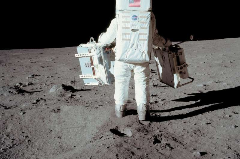US astronaut Buzz Aldrin on the moon's surface in 1969