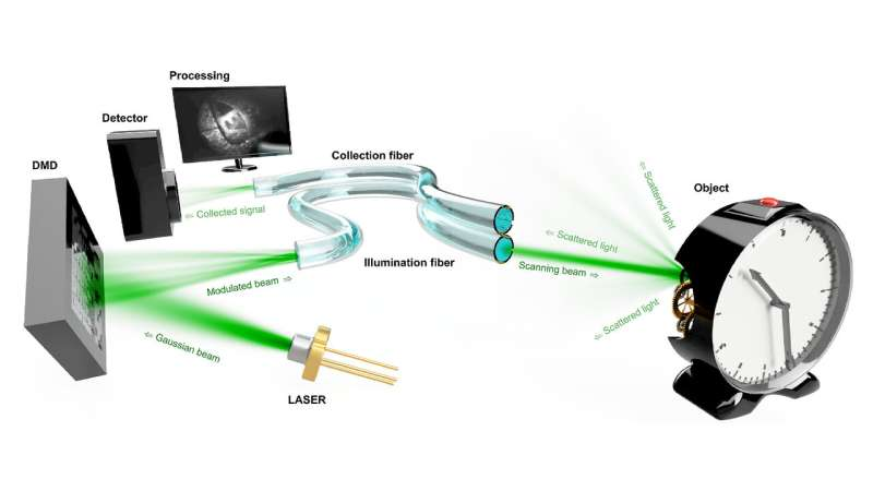 Using holographic endoscopes to observe distant objects