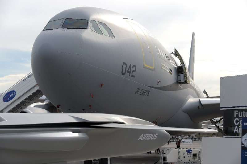 View of the Airbus A330 MRTT multirole tanker aircraft at the International Paris Air Show