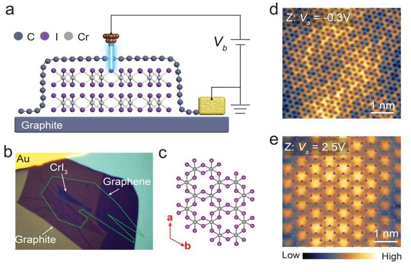 Visualising atomic structure and magnetism of 2D magnetic insulators