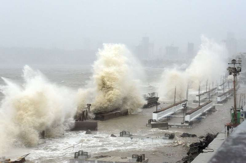 Waves lashed Mumbai's shoreline