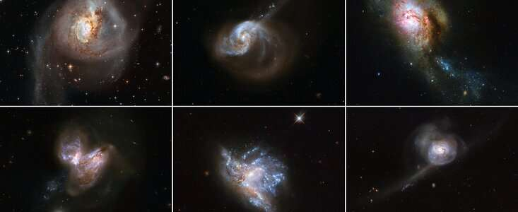 When galaxies collide: Hubble showcases six beautiful galaxy mergers