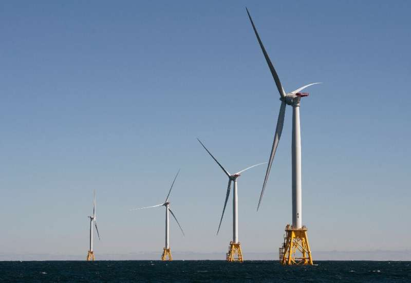 Wind turbines off the coast of the US state of Rhode Island