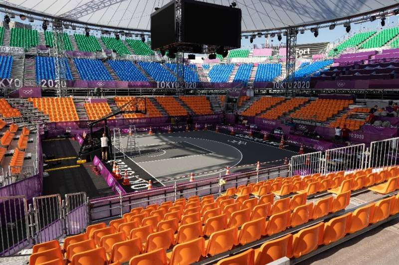 Without spectators, TV crews will have to innovate at Aomi Urban Sports Park, the main venue for 3x3 basketball during the Tokyo
