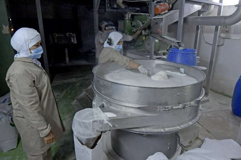 Workers process liquid obtained from heating red seaweed before transforming it into a culinary powder, at a factory on the outs