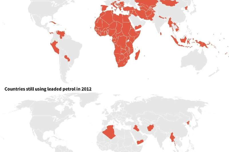 World map showing the progression of bans on toxic leaded petrol after the last country, Algeria, ended its use in July