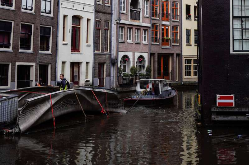 World's first 3D-printed steel footbridge unveiled by robot in Amsterdam