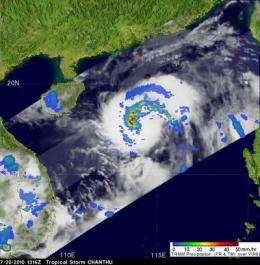 NASA satellites tracking rain-packed Tropical Storm Chanthu as it heads toward China