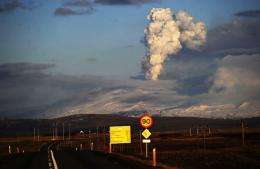 Smoke and ash bellow from Eyjafjallajökull volcano as it is seen from Hella, Iceland, in April