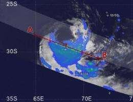 NASA satellite sees Tropical Storm Edzani becoming extra-tropical