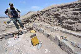 Archaeologist Jesus Holguin visits the excavation site at the Inca Sanctuary of Pachacamac