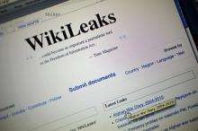 The homepage of the WikiLeaks.org website