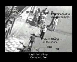 A frame from the leaked footage of a helicopter attack in Baghdad in 2007