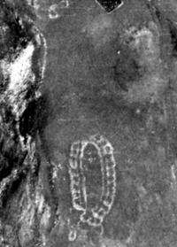 An aerial picture approximately taken in 1970 shows a stone structure located in the mountains, south of Kislovodsk