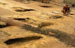 An archeologist examines the colonial graveyard beneath Sydney's city hall in 2008