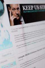 A page on the WikiLeaks website featuring its founder Julian Assange