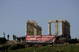 A protests against the construction of a new landfill
