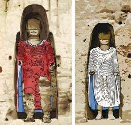 Bamiyan Buddhas once glowed in red, white and blue