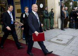 British foreign secretary William Hague leaves after his appearance the 47th Munich Security Conference