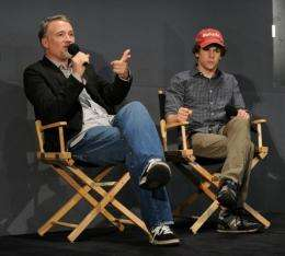 """Director of """"The Social Network"""" David Fincher (L) and actor Jesse Eisenberg in New York"""