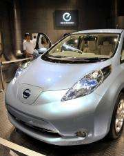 Japanese Nissan Motor displays the company's Leaf electric vehicle