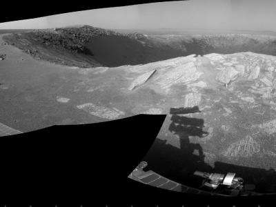 Opportunity studying a football-field size crater
