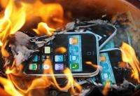 Protestors from SACOM (Students and Scholars Against Corporate Misbehaviour) burn effigies of Apple products