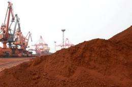 Rare earths are loaded on to a ship at a port in Lianyungang, in eastern China's Jiangsu province