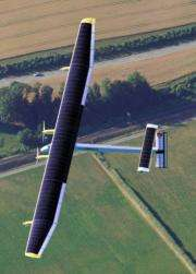 Solar Impulse's Chief Executive Officer and pilot Andre Borschberg flies in the solar-powered HB-SIA prototype